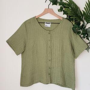 🌸Flax Green Linen Button Down shirt size M🌸
